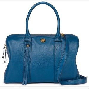 Tory Burch Brody Blue Tidal Wave Leather Satchel